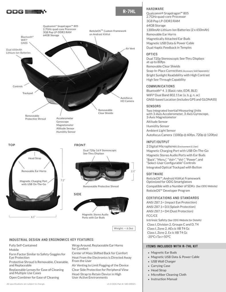 ODG R-7HL made the list of Smart Vision Labs top 5 Smart Glasses